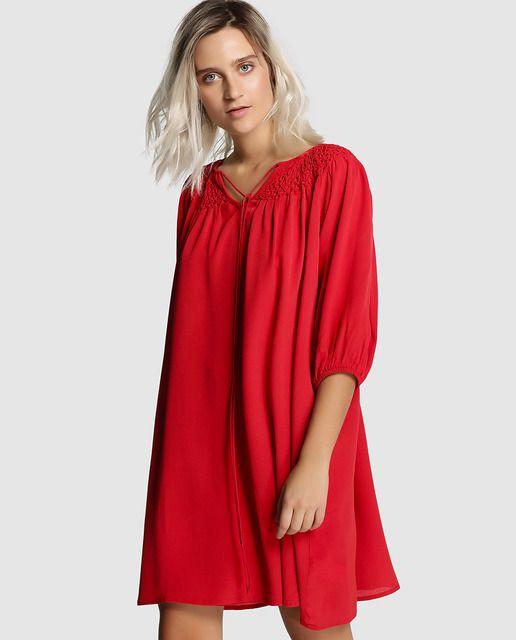 9dd1e8ed9 Vestido de mujer Tintoretto rojo con nido de abeja