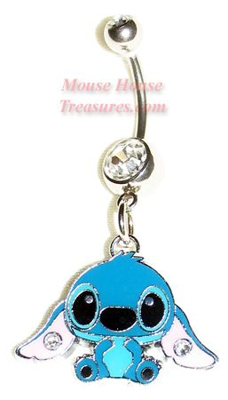 Stitch Sitting With Stones Belly Ring Tattoo Piercing Ideasss