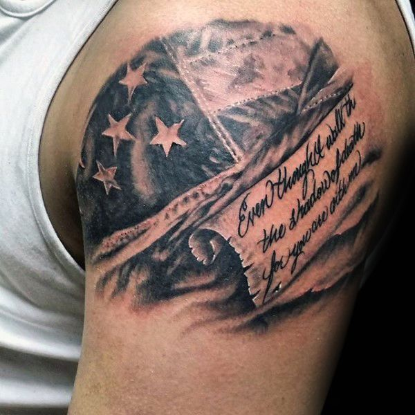 Gentleman With American Flag And Scroll Upper Arm Tattoo