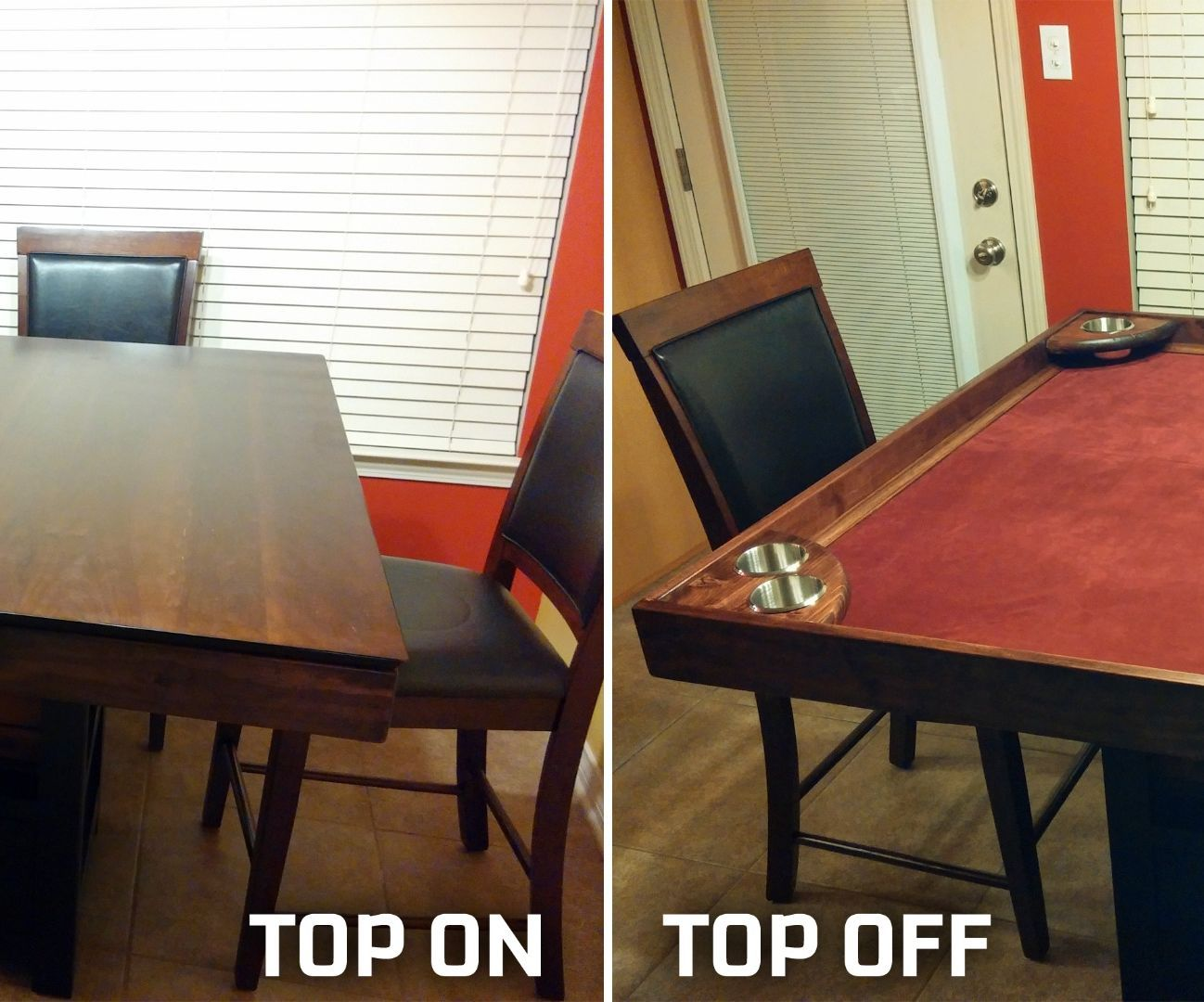 DIY Game Table Conversion: IMPORTANT NOTES: I am giving these instructions as an amateur who simply wanted a game table a did enough research to pull it off.  These instructions are for converting an existing table, so obviously not all tables could be converted and your di...