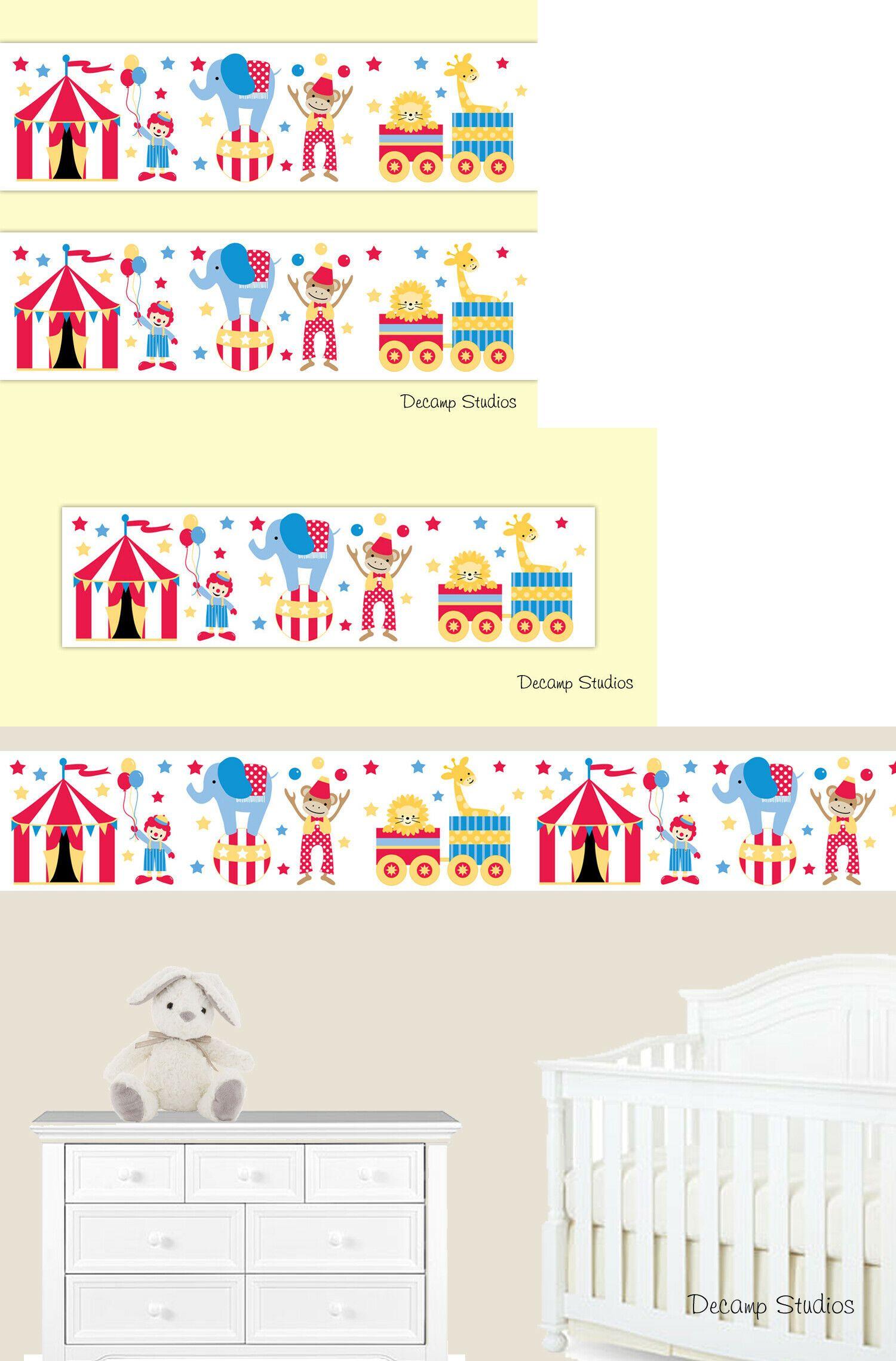 Wallpaper Borders 37636 Circus Animals Train Clown Baby Nursery Border Wall Art Kids Decals