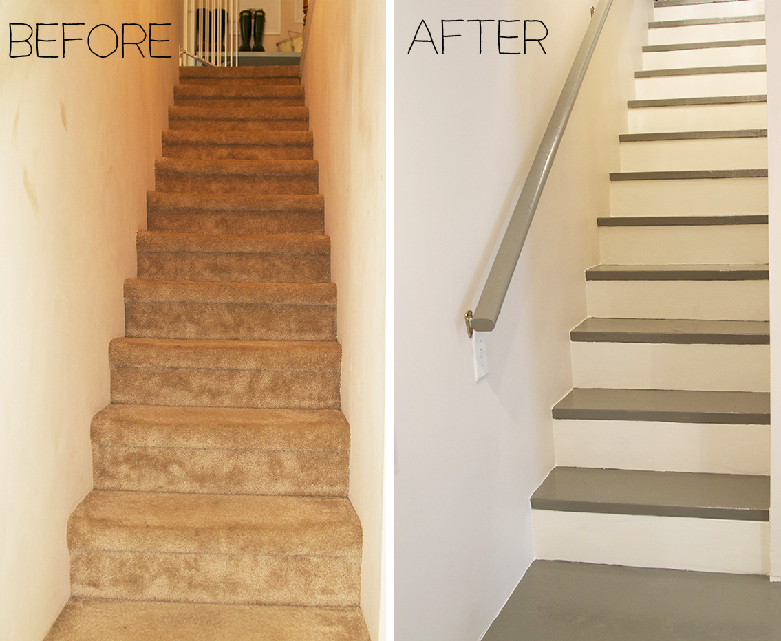 Best Before After Carpeted Stairs Get Painted Carpet 400 x 300