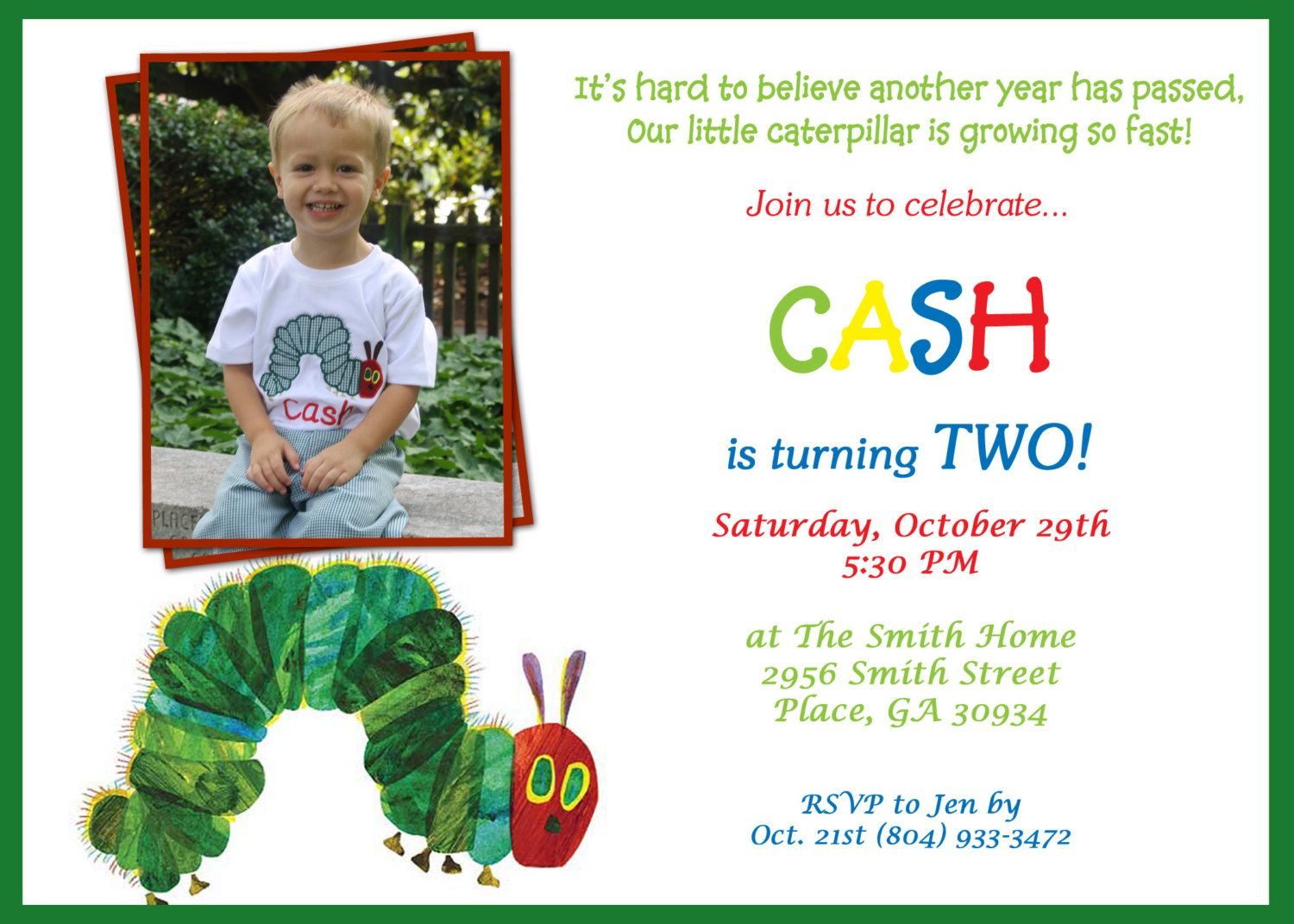 Printable Very Hungry Caterpillar Birthday Invitation. | Very Hungry ...
