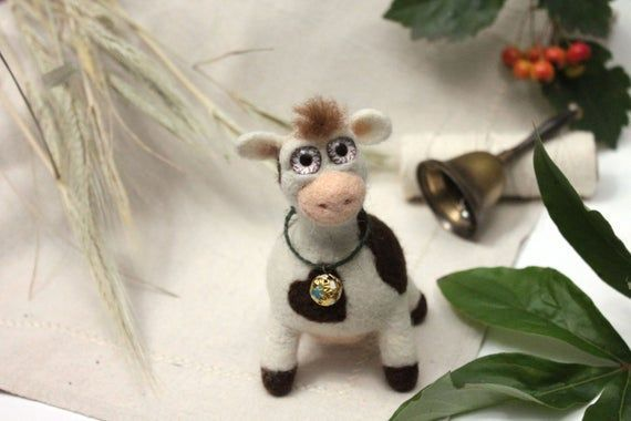 Needle Felted cow Cute animals Cow figurine Farm animal cow Cow soft toy Cow with bell toy An Needle Felted cow Cute animals Cow figurine Farm animal cow Cow soft toy Cow...