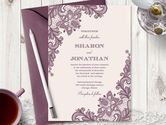Elegant Wedding Invitation Vintage Lace Blush Pink Mauve Diy