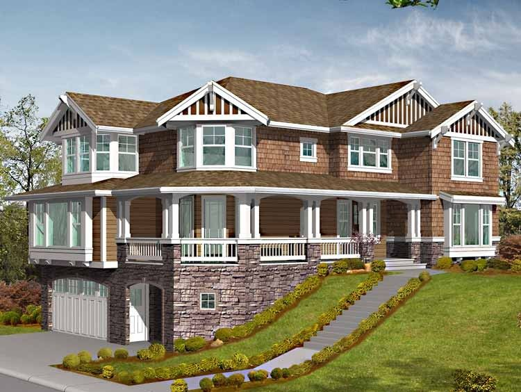 Craftsman Style House Plan 4 Beds 2 5 Baths 3630 Sq Ft Plan 132 459 Craftsman Style House Plans Craftsman House Plans Sloping Lot House Plan