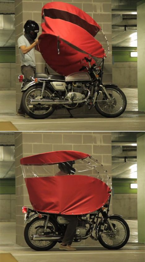 The Rainrunner: A Portable Way to Stay Dry While Motorcycling in the Rain - Core77