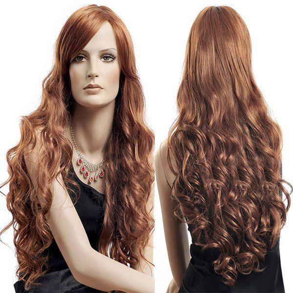 $13.04 Shaggy Long Side Bang Wavy Fluffy Synthetic Wig