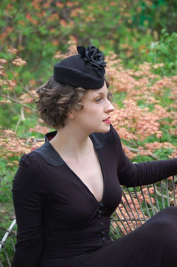 Black Rose percher cocktail hat with veiling by AkaTomboMillinery