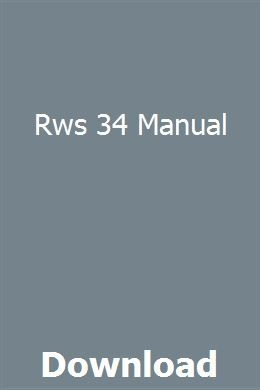 Rws 34 Manual Manual, Pdf, Book catalogue