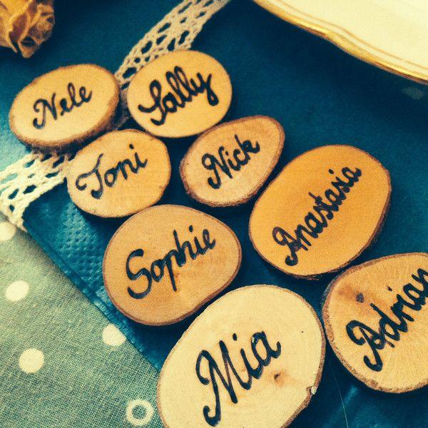 Hochzeitsdeko Namensschild Tischkarte Hochzeit Taufe Holz ein