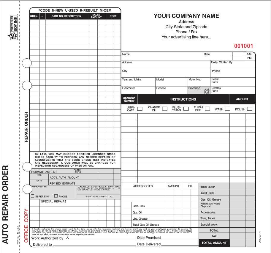 4 part auto repair invoice forms valid in california with