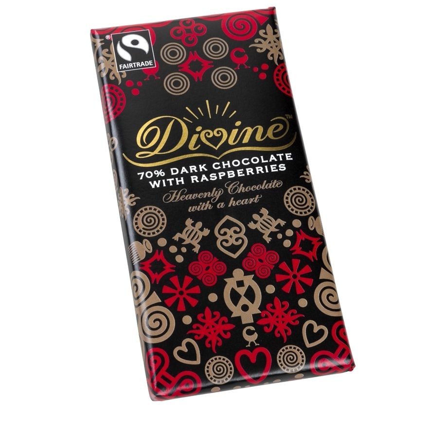 Divine 70 dark chocolate with raspberries divine