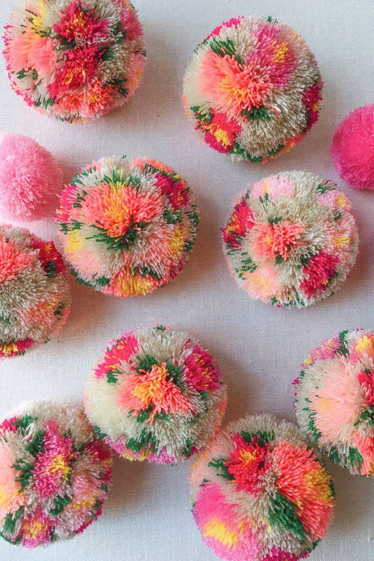 Diy Floral Pom Poms Honestly Wtf In 2020 Pom Pom Crafts Crafts Diy Pom Poms