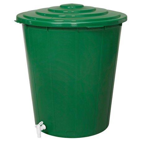 Ställ den under stupröret och samla upp regnvatten eller fyll den själv. I botten finns en praktisk tappkran, i toppen finns ett lock.