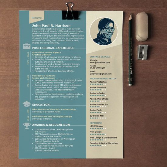 Free Page Indesign Resume Template  Adobe Indesign