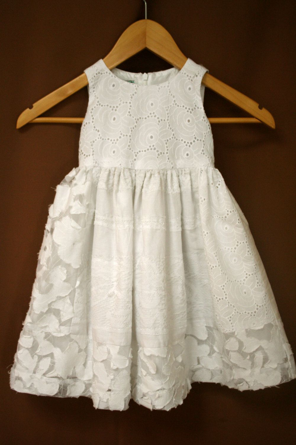 White Cotton Flower Girl Dresses 37
