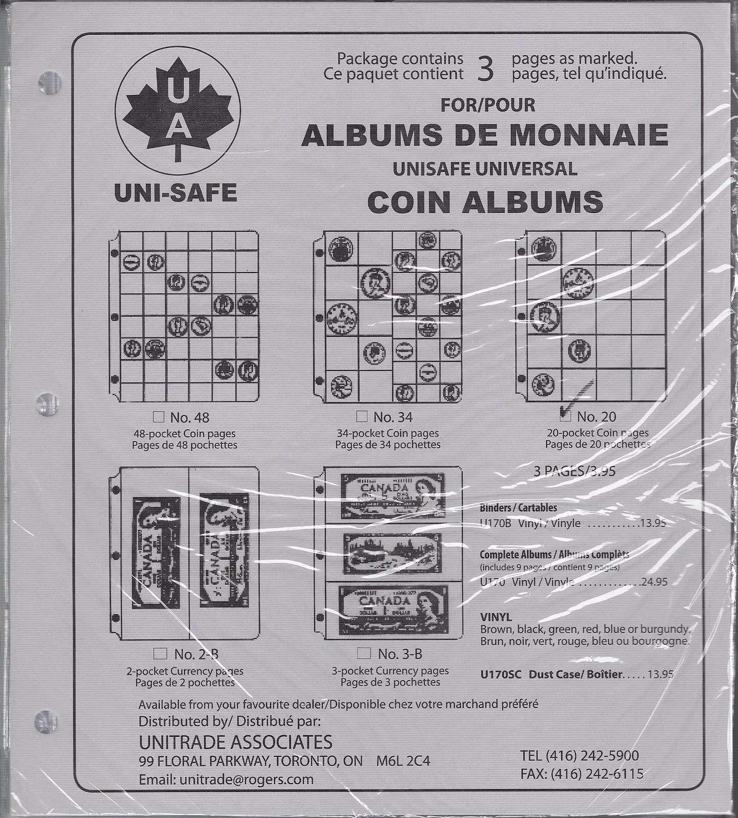 20 Pocket Unisafe /'Universal/' Coin Album Pkg of 3 Extra Pages