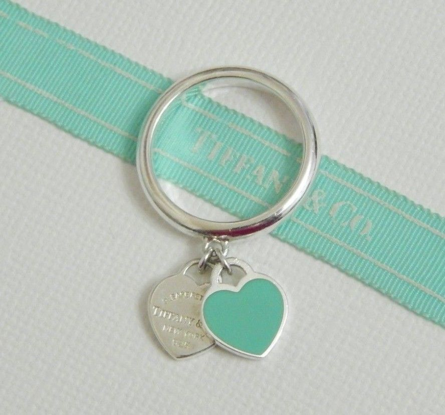e28c6540d Tiffany & Co 6.5 Silver Blue Enamel Return To Dangling Double 2 Heart Charm  Ring #TiffanyCo #Band