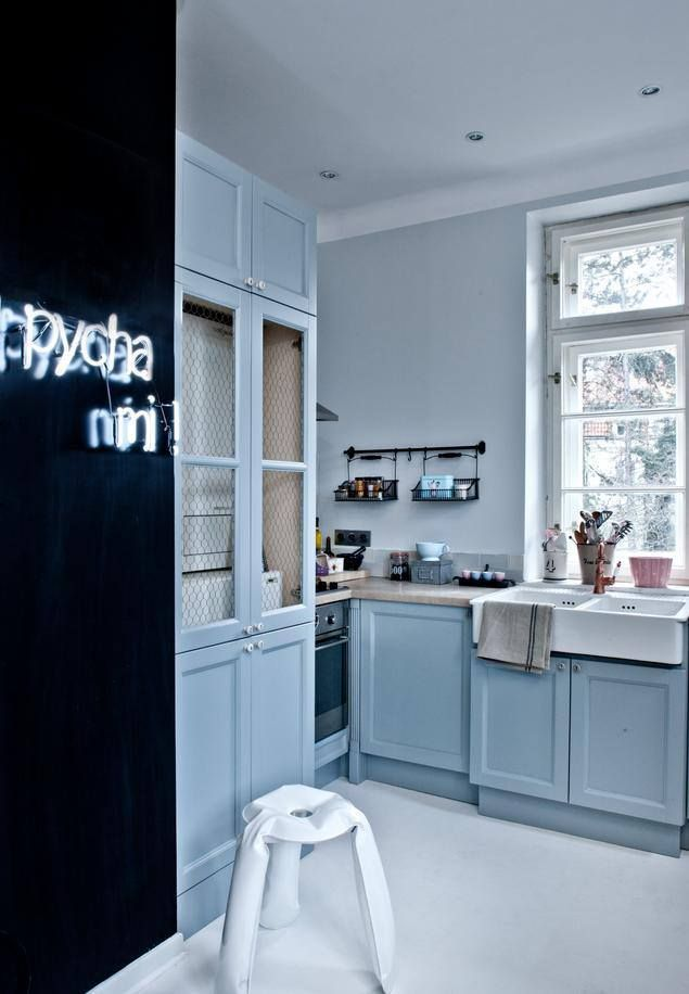 Kuchnia Blekitne Szafki Neon Home Modern Dining Room Dining Room Design