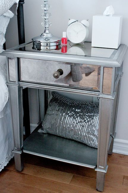 Mirror And Painted Bedside Table: Mirrored Bedroom Furniture