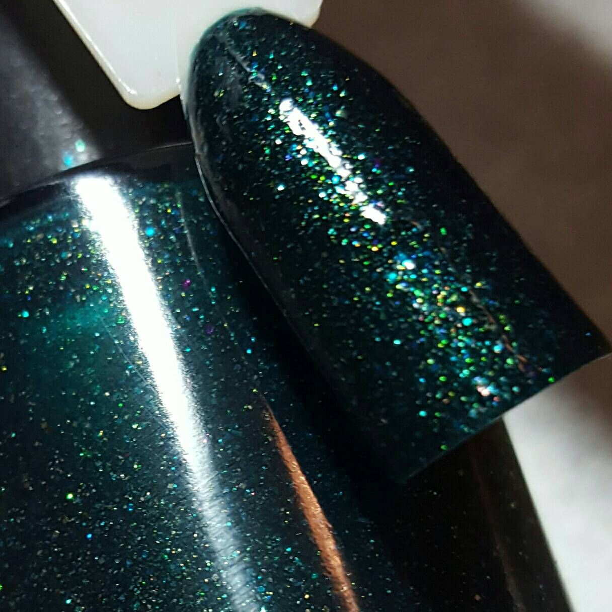 New! Deep teal with gold green flakies & shimmer Prototype ~ Indie Nail Polish by MDJ Creations by MDJCreations on Etsy