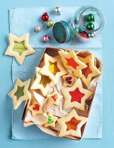 star cookies, just replace the hard candies with red and blue for the 4th.