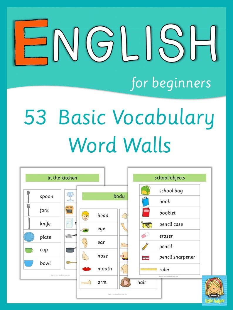 ESL Word Walls Basic Vocabulary | English 4 | Pinterest | English ...