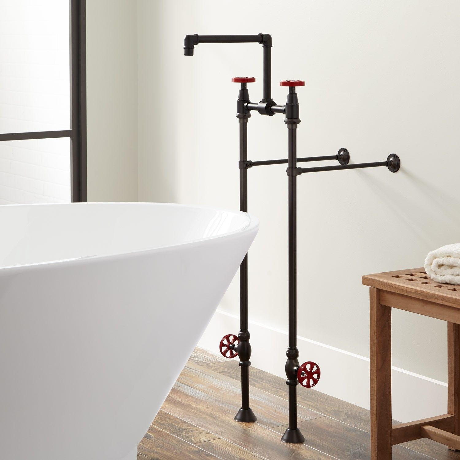 Edison Freestanding Tub Faucet with Shutoff Valves | Freestanding ...