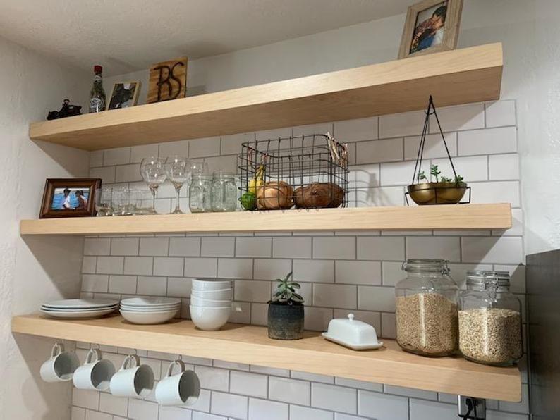 Floating Shelves Etsy In 2020 Floating Shelves Kitchen Shelves Wood Floating Shelves