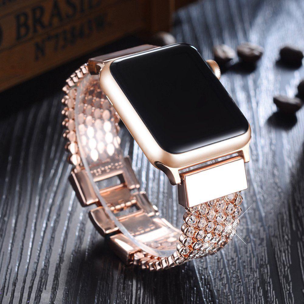 Apple Watch Band 38mm Women Girls Fresheracc Bling Cz Crystal Rhinestone Mesh Chain Loop Apple Watches For Women 38mm Apple Watch Band Apple Watch Accessories