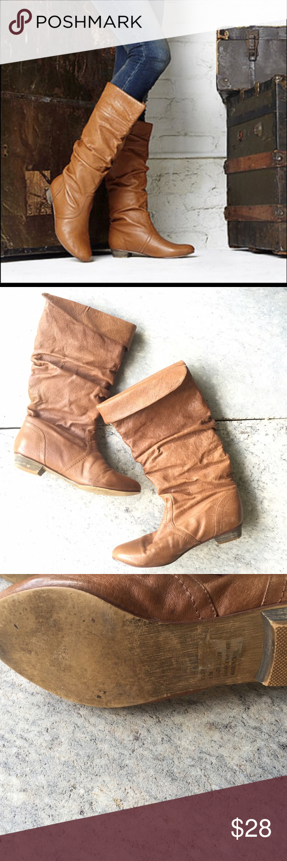 Steve Madden cadence leather boots brown size 6.5 Steve Madden cadence tan brown boots in a 6.5. These shoes feature a minimal heel with the option to fold over at top or wear higher. These slouchy boots are for the season! Leather. Great condition, do have a couple scuffs and marks but doesn't take away from overall look. Steve Madden Shoes Heeled Boots