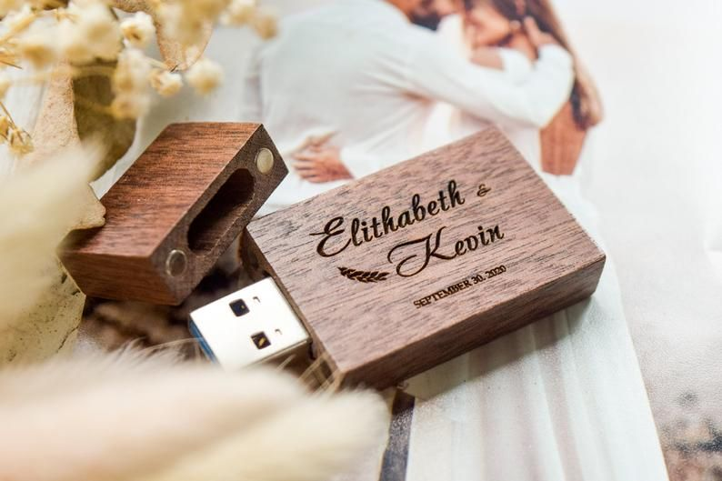 32gb 8gb White Interior Wedding USB 4gb Personalized USB Flash Drive with Engraved USB Box White 16gb