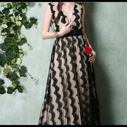 فستان دانتيل الكلف الأسود فستان طويل كت مبطن بالشيفون البيج الثقيل ومغطى بالدانتيل الأسود المطرز بكلف سوداء ربما ك Dresses Lace Dress Maxi Dress