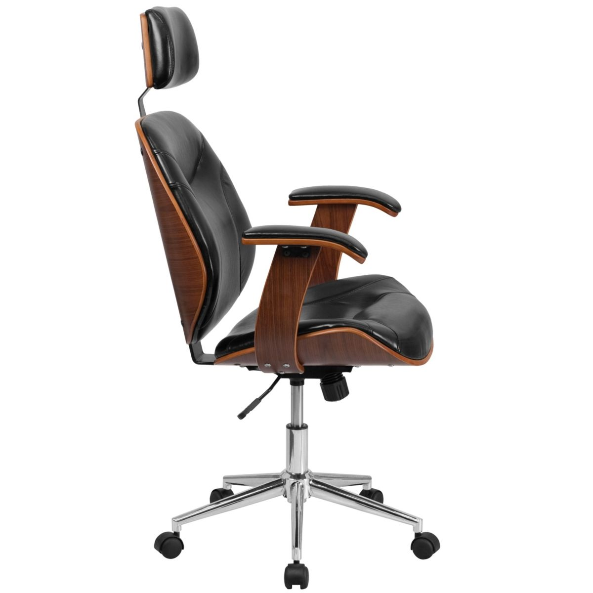 Flash Furniture High Back Black Leather Executive Wood Swivel