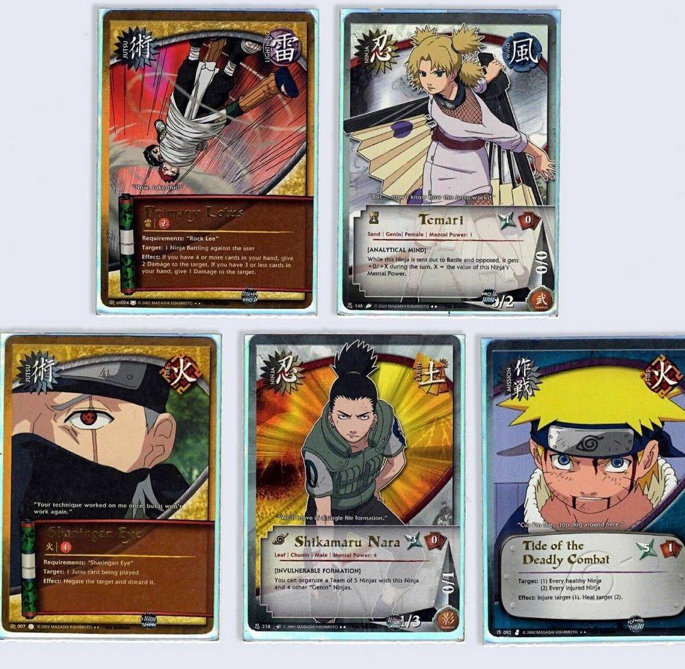 Naruto cards 5 rare game cards 1st editions naruto