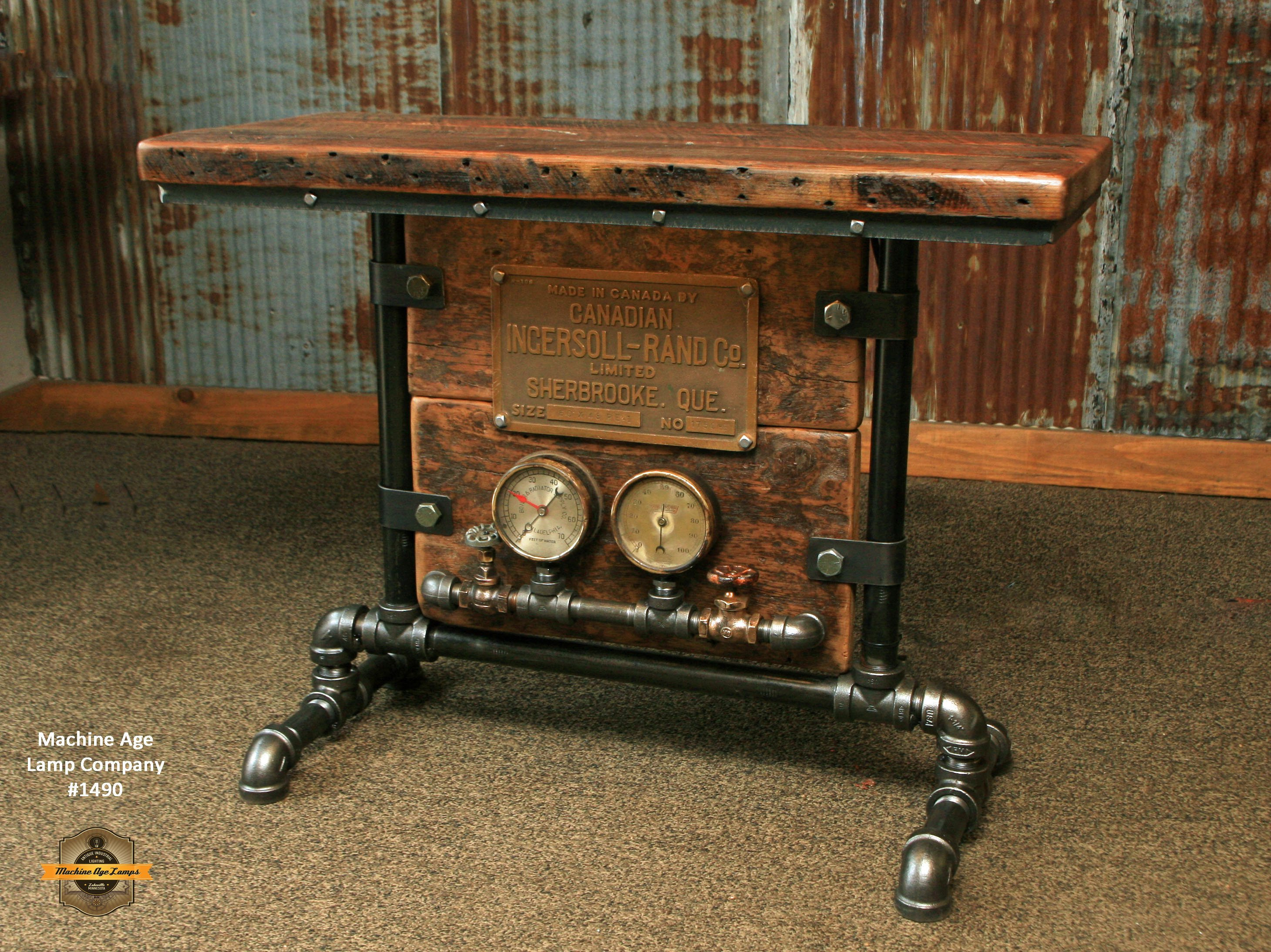Steampunk Industrial Table Console Ingersoll Rand Mining Table 1490 Muebles Metal Industrial Madera