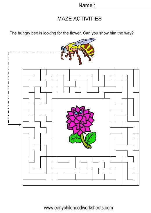 Bee to flower maze kids activity visual skills hand eye – Puzzles for Kindergarten Worksheets