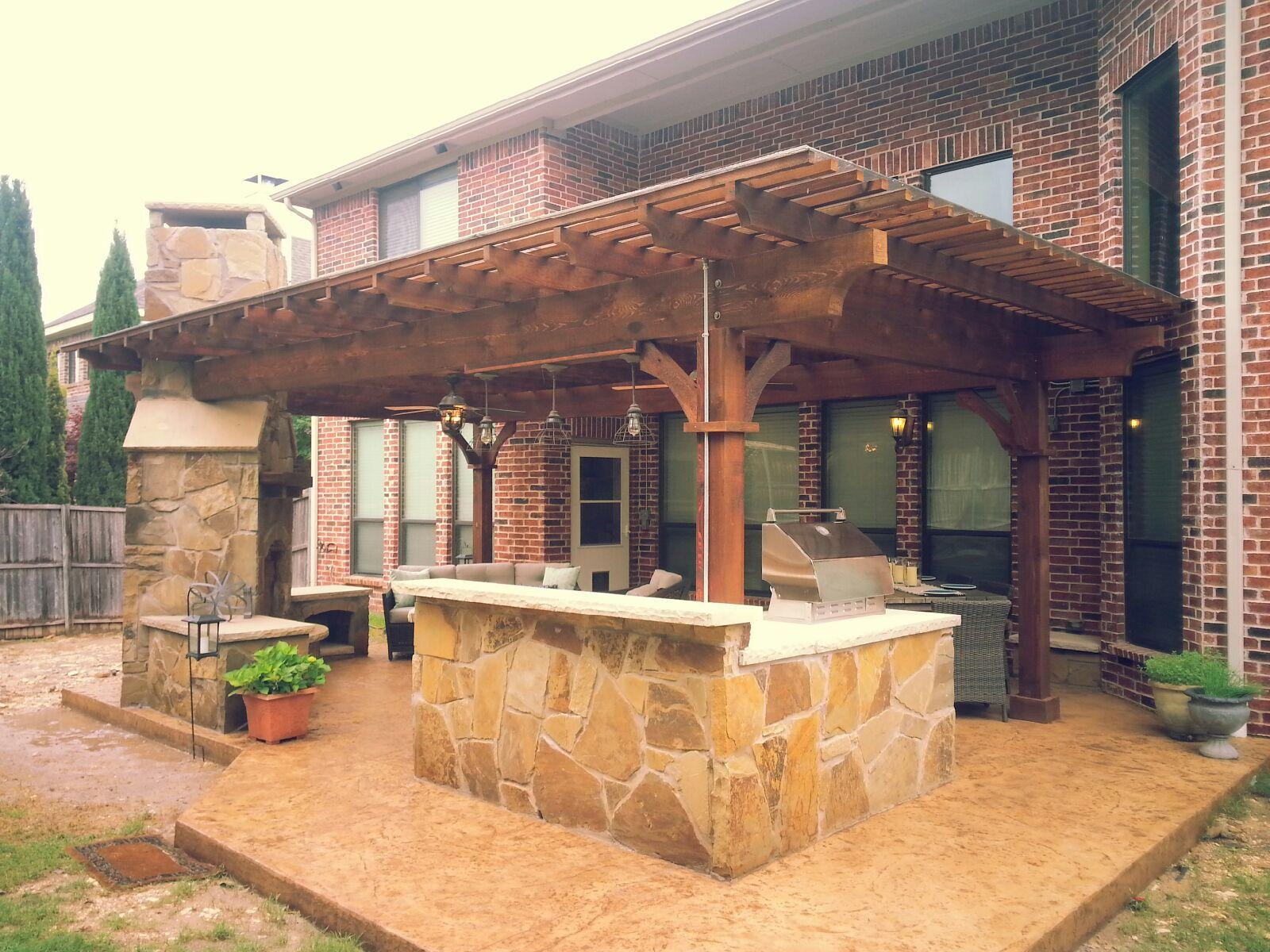 Outdoor Living Frisco Tx Texas Traditions Outdoors Pergola And Outdoor Kitchen Patio Courtyard Ideas Patio Projects Backyard Pergola