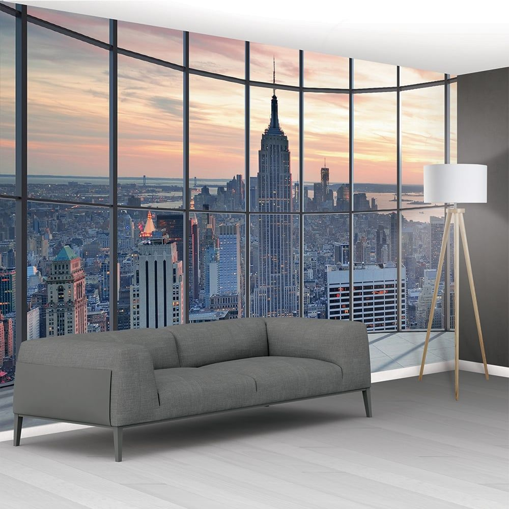 Wall New York City Scape Window View Mural Wallpaper Cm X Cm