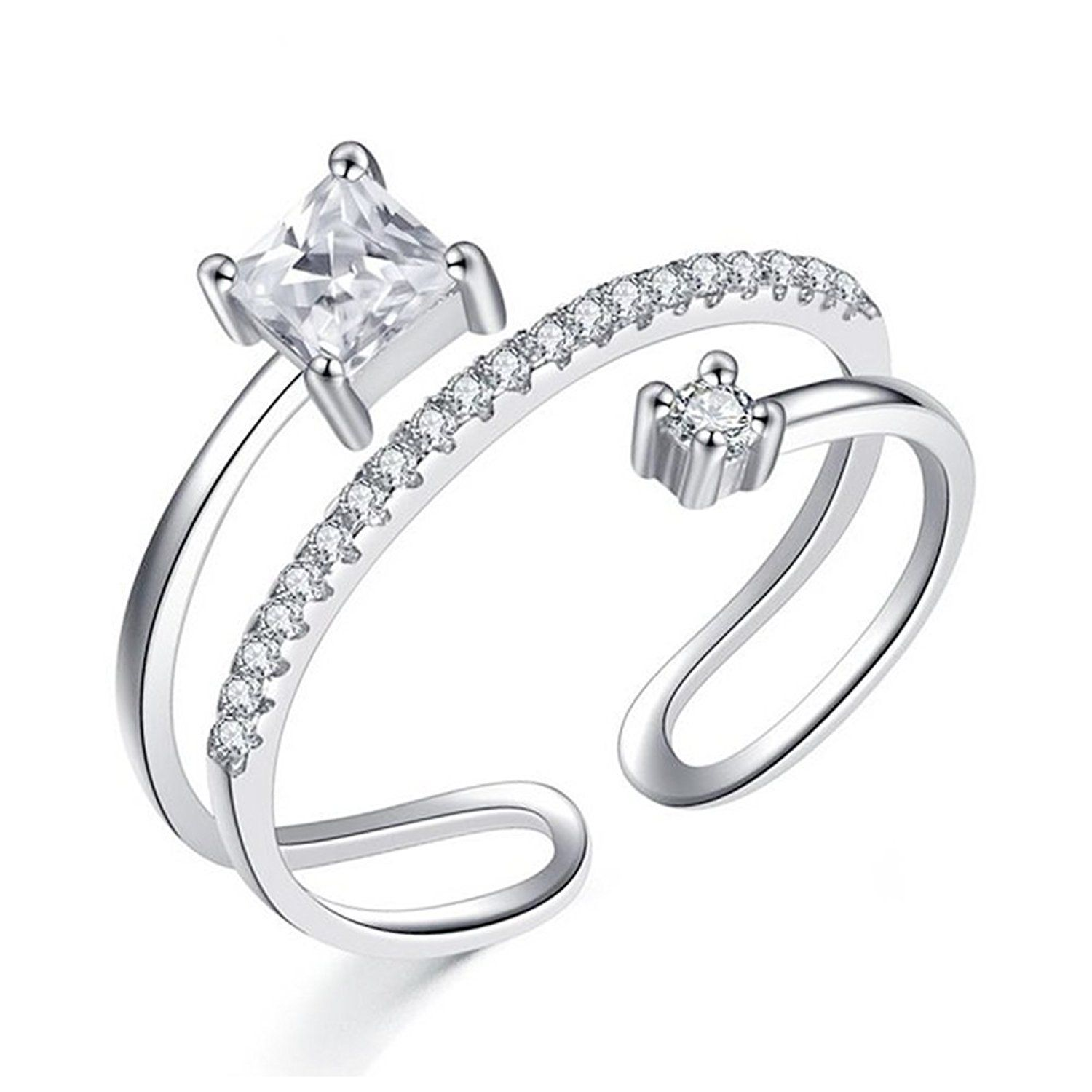 QUKE 925 Sterling Silver 3D Butterfly Adjustable Band Ring Sizes From L 1/2 to R 1/2 Fashion Women Jewellery a4rRfJHYkD