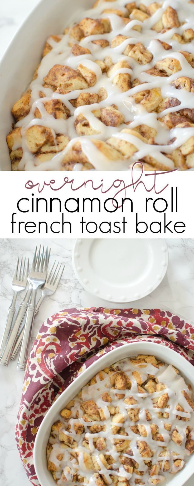 Start a new holiday tradition with Overnight Cinnamon Roll French Toast Bake for breakfast!