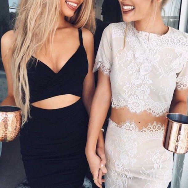 Sheer lace dress tumblr cute