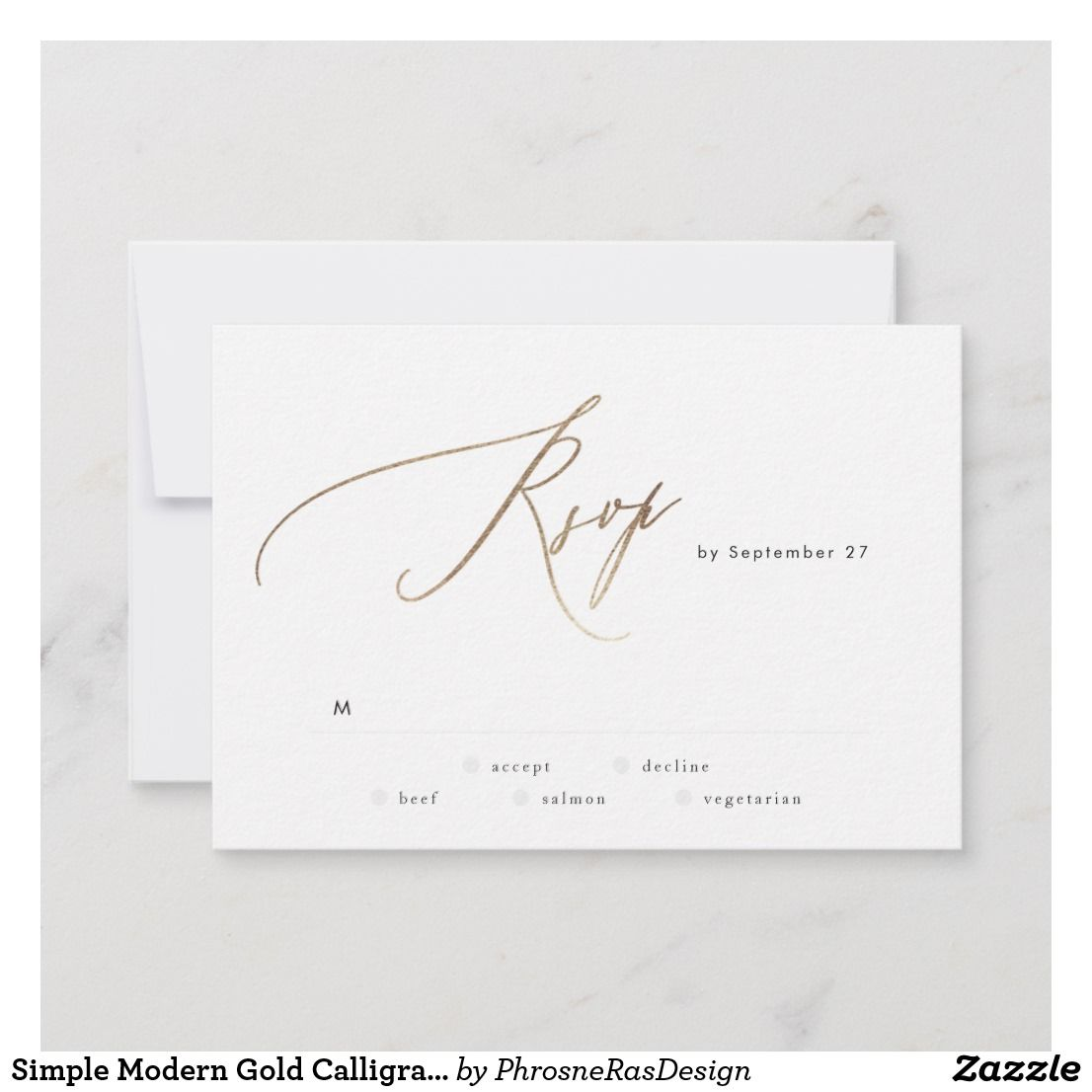 Simple Modern Gold Calligraphy Wedding Rsvp Card Zazzle Com In