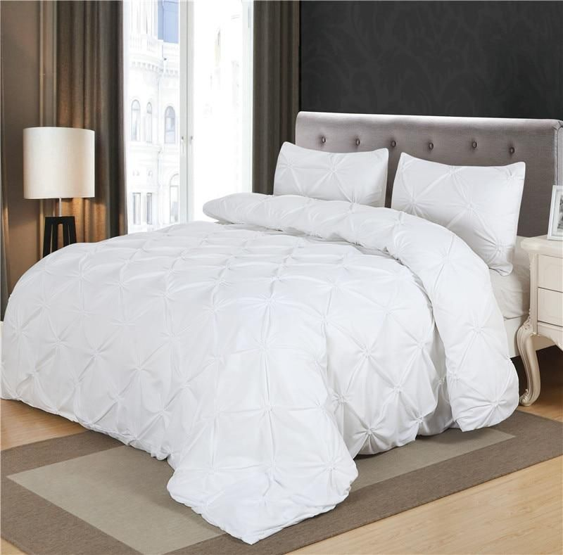 White Duvet Cover Set Pinch Pleat 2 3pcs Twin Queen King Size