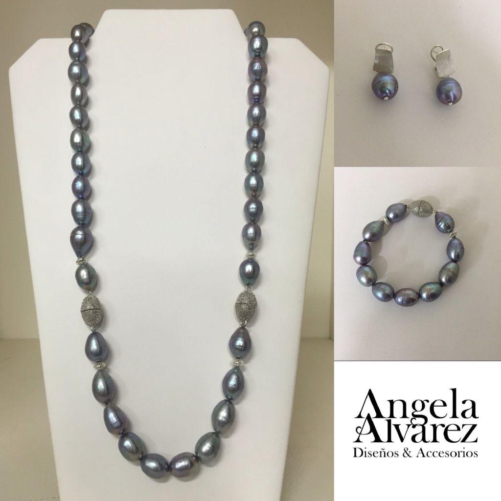 7f8158d4a23b Collar - Aretes - Pulsera en Perlas Grises.  joyeriabrieva  AngelaAlvarez