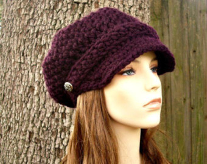 Crochet Hat Womens Hat Blue Hat Blue Newsboy Hat - Oversized Monarch ...