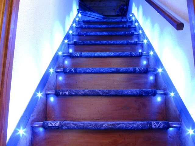 Led Step Lighting Pleasing Led Stair Lighting Wonderful Stairs With Automatic Led Lighting Design Decoration