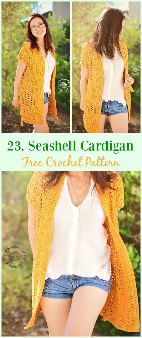 Seashell Cardigan Free Crochet Sample - #Crochet; Girls Summer time ...