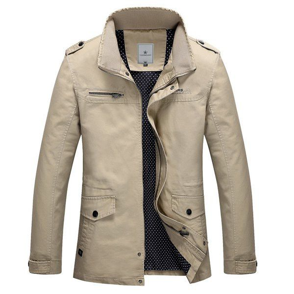 Multi-Pocket Epaulet Design Stand Collar Long Sleeve Fitted Fashion Jacket For Him - Preferred Source  - 1